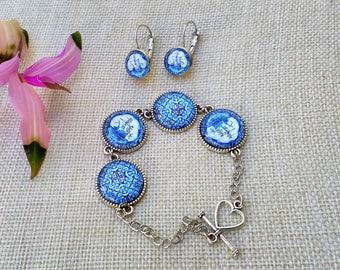 Portuguese Jewelry, Portugal, Portuguese Tiles Replica, Bracelet Earrings Set, Portuguese Bracelet, Portuguese Earrings, Tiles, Azulejos