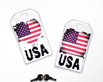 American Flag Luggage Tag, Team USA, US Womens Soccer, Americana Traveler Gifts