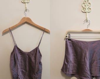 Sleep set SILK Victoria's Secret vintage 90s purple pinup nightie M