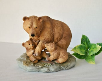 Vintage Homco Grizzly Bear Family Figurine 1435, Brown Bear Family, Mother Bear and Cubs, Home Interiors Animal Figurines