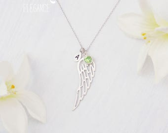 Silver or Gold Angel wing, birthstone personalized necklace. Silver angel wing. Gold angel wing necklace