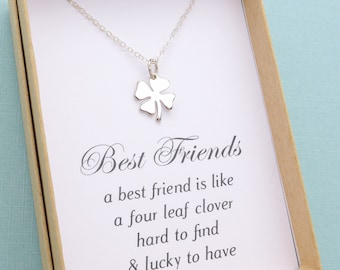 Best Friend Gift, Best Friend Jewelry, Four Leaf Clover Necklace,Best Friend Necklace, Friends hip Gift, Bridesmaid Gift,Silver or Gold