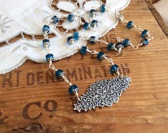 Aqua Blue Art Victorian Statement Necklace silver necklace aqua necklace Victorian necklace