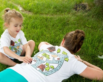 Mom and Daughter Matching Shirts. Race Track Shirt in White. Gift for Mom from Daughter. Car Play Mat Shirt. Mommy & Me.