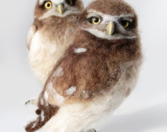READY TO SHIP, Burrowing Owllets, Owls, Burrowing Owl, Owl Sculpture, Needle Felted Owl