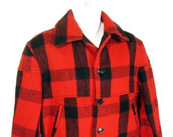 Vintage Chippewa Woolen Mill Buffalo Plaid Mackinaw Coat Sz.M 1930's/1940's
