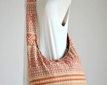 Toffee Brown Boho Bag Ethnic Bag Hobo Bag Cotton Shoulder Bag Crossbody Bag Boho Bag Sling Bag Hippie Bag Messenger Bag Purse with Zipper