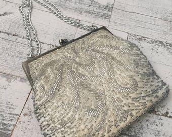Vintage Beaded Evening Bag Clutch Purse - Beaded Silver Evening Bag - La Regale Bag -