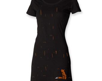 Funky t shirt dress, gift for her, fox dress, fox in the rain, foxy tee dress, painted apparel, hipster women dress