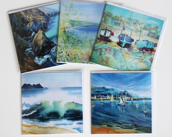 Fine Art card set of 5, Cornwall coast and sea art cards, from original acrylic, card gift set, personal touch gift, card set