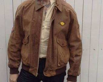 Suede Bomber Jacket w/ Patches; WWII Style Aviator Jacket