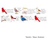 "Aimez le Style ""Dreamy Birds"" Washi Tape - Wide 38mm x 7m - Cardinal Robin Bluebird Sandpiper Seagull - Impossible Dreams Humorous Animals"