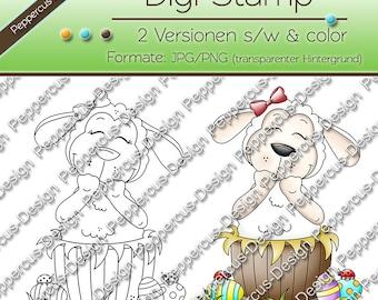 Digi stamp set - lamb in the wooden tub / E0143