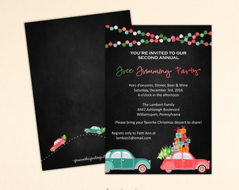 Christmas Tree Trimming Party, Christmas Party Invitation, Holiday Party, Cocktail Party, Open House, C11073