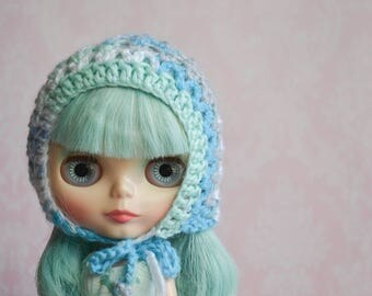 Handmade Crocheted Pixie Hat for Blythe - Acrylic Yarn - Blue Mix 2
