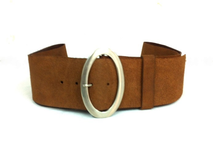 handcrafted wide brown leather belt s by kerenhandmade