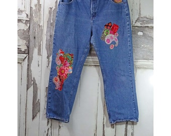 Xlarge Upcycled Denim Boro Hand Stitched Bohemian Style Festival Clothing Upcycled Clothing  Boho Chic  Wearable Art
