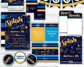 Pool Party Boy's Birthday Splash Pad Summer Birthday Splish Splash, Navy Blue Yellow, Boy's Pool Party Decorations - Printable Party Package
