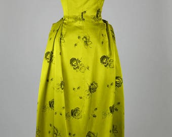 1950s Vintage Dress Acid Green Satin with Black Roses