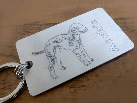 Bedlington Terrier Personalised Keyring,  Bedlington Keyring, Bedlington Keychain, Terrier Fob, Personalised Dog Keyring, Pet Memorial
