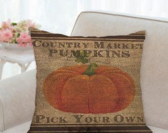 """Country Market Pumpkins Pillow  """" Pick Your Own"""""""
