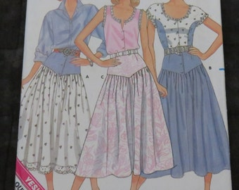 Vintage Butterick skirt pattern,1987,size 14-16-18,uncut,unused,country style skirt,Easy sew pattern,sewing