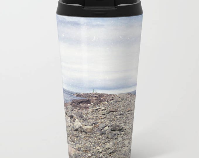 Travel Mug Metal - Rockaway Beach Oregon - Beach Theme Coffee Travel Mug -  Hot or Cold - 15 oz Mug - Stainless Steel - Made to Order