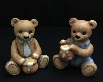 Vintage Homco Honey Bears pair (numbers 1425 & 1405)   (LDT6)