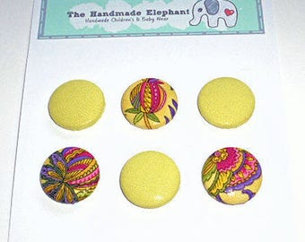 Buttons, Covered Buttons, Flower Buttons, Fabric Buttons, 22mm Buttons, Clothes Buttons, Fastenings, Shank Buttons, Flower Print Buttons
