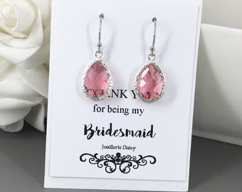 Clearance, Dangle Earrings, Bridesmaids Earrings, Gift for Her, Fuchsia, Hot Pink, Pink, Bridesmaid Jewelry, Dangle Earrings, Gift under 10