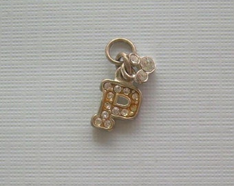 """Mickey Mouse Ears & Letter """"P"""" Initial Charm Pendant-Vintage Sterling Silver-Crystals-Collectible Hallmark-Disney World Souvenir Jewelry"""