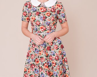 Liberty print dress with peter pan collar