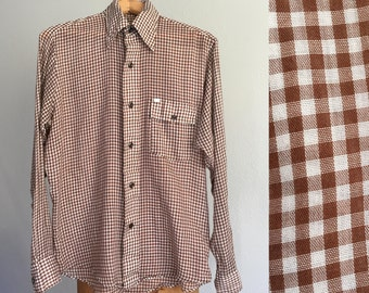 Vintage 1970s Shirt / SALE 70s 80s Bread Brand Brown White Gingham Plaid Super Soft Lightweight Button Down Shirt - Men's Medium