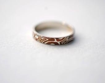 Wood Grain Metal Ring Band (Women's Sterling Silver & Copper Mokume Gane Ring)