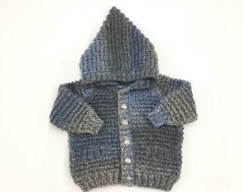 Blue/Grey baby hoodie / sweater / jacket.  Size: Up to 3 Months (56-62cm Height)