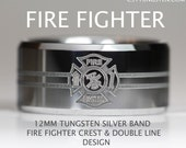 Tungsten ELITE FIREFIGHTER Crest With Double Line in 12MM High Polish Silver Beveled Band Custom Engraved