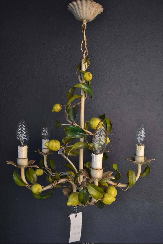 Beautiful toleware flower chandelier with lemons