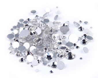 Clear --  5000 pcs Assorted 9 Sizes Crystal Glass Rhinestones Flatback High Quality no hotfix  Wholesale Pack Lot