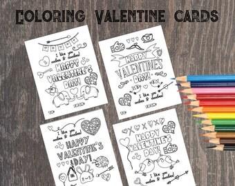 Coloring Valentines Day Cards - Printable Valentines Cards for school - Coloring Page Valentines Day Cards - DIY Digital Instant Download