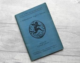 A Midsummer's Night Dream, Vintage Shakespeare Book, Cambridge University Press, Shakespeare Play, Vintage School Book, 1930s Shakespeare
