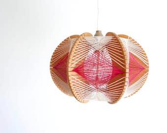 Vintage wood and tense threads pendant light, scandinavian danish, 1970s 70s vintage lamp