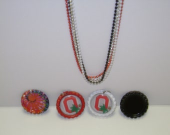 Ohio State Flattened Bottle Cap Necklace!Choice of Necklace, Pins, Magnets, Pendant(No Hole),Pendant(With Hole), Ornaments!