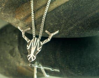 Pendant Deer, sterling silver, Geometric patterns, Hand cut, jewelry