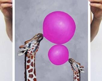 Giraffe Print, bubblegum,Art Print Poster A3 Illustration Giclee Print Wall art Wall Hanging Wall Decor, giraffes with bubblegum