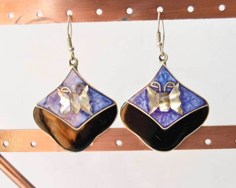 Silver alpaca mexico vintage earrings