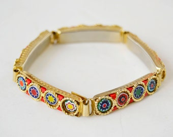 Gold bracelet with micro mosaic