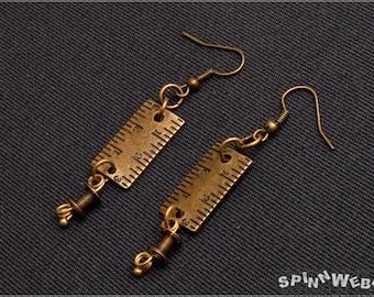 Neu! Lineal Stück Ohrhänger   Steampunk, Neo Victorian, Anhänger, Bronze