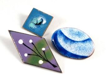 Artisan Enamel Brooch Set - Abstract Geometric - Purple Blues - Modernist Pins - Copper - Quebec Canada - 1960-70s