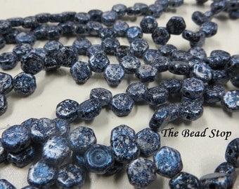 HONEYCOMB Tweedy Blue Beads, 6mm, 30 beads per strand