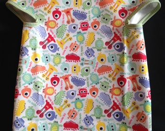 Googly Eyed Monster Bib with Green with White Dots Trim